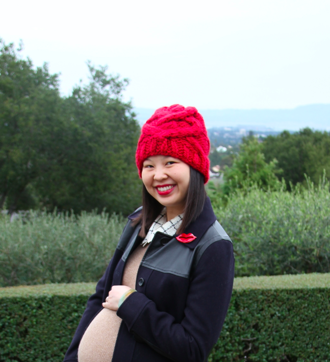 red beanie and red lips brooch pin