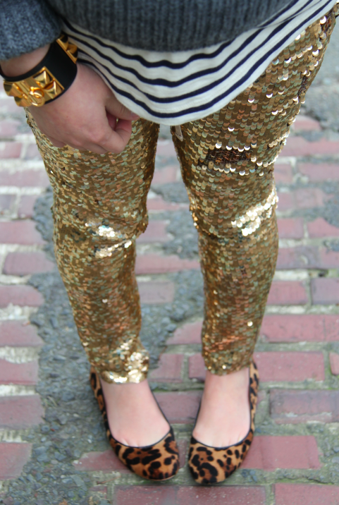 stripes, sequin pants and leopard flats