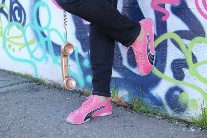 my pink pumas and dangling rose gold handset phone