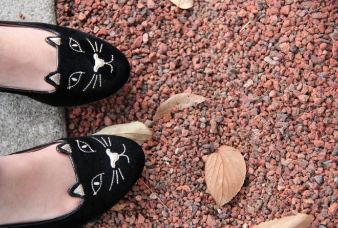 Charlotte Olympia kitty flats in black velvet