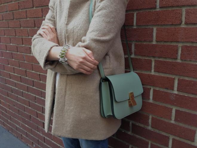 celine box bag and ek thongprasert bracelet
