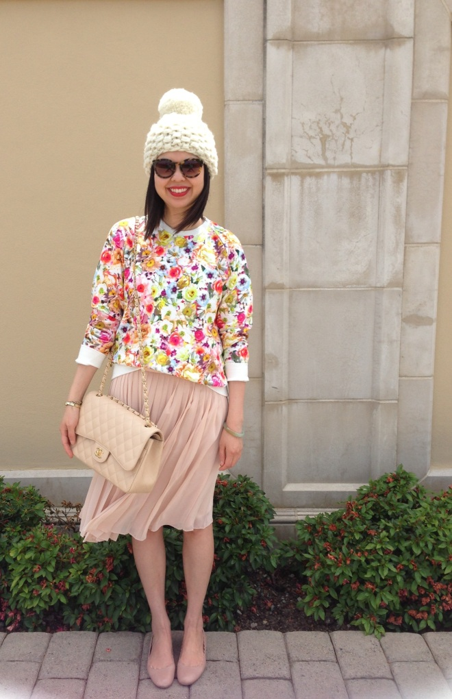 pom knit beanie and msgm floral sweatshirt