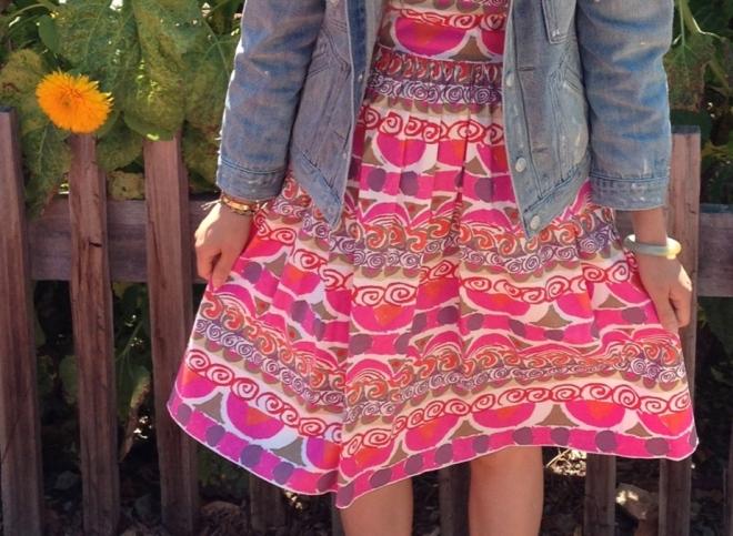 prada pink printed dress