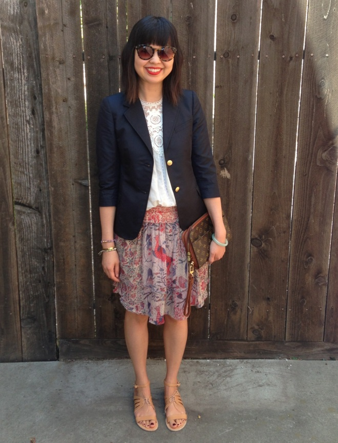 Band of Outsiders BOY schoolboy blazer and vintage Louis Vuitton clutch bag