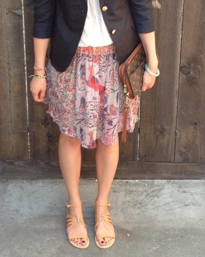 Isabel Marant Vutti print skirt and Ancient Greek sandals