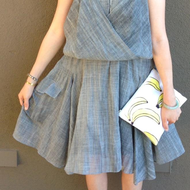 vanessa bruno dress details and lizzie fortunato banana clutch bag