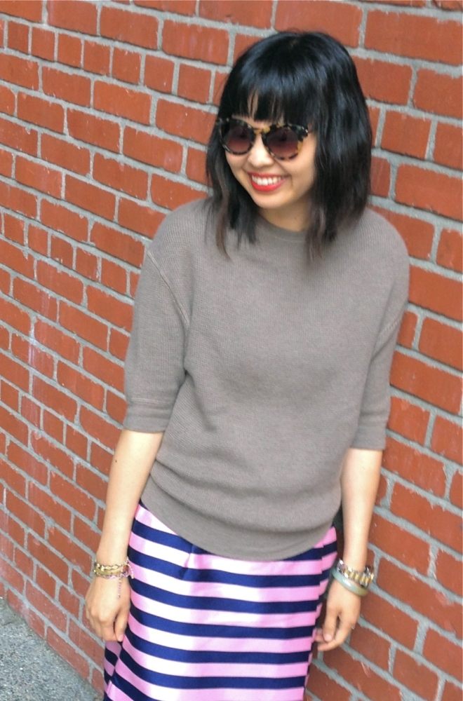 marc jacobs cashmere thermal sweater and j crew stripe wrap skirt