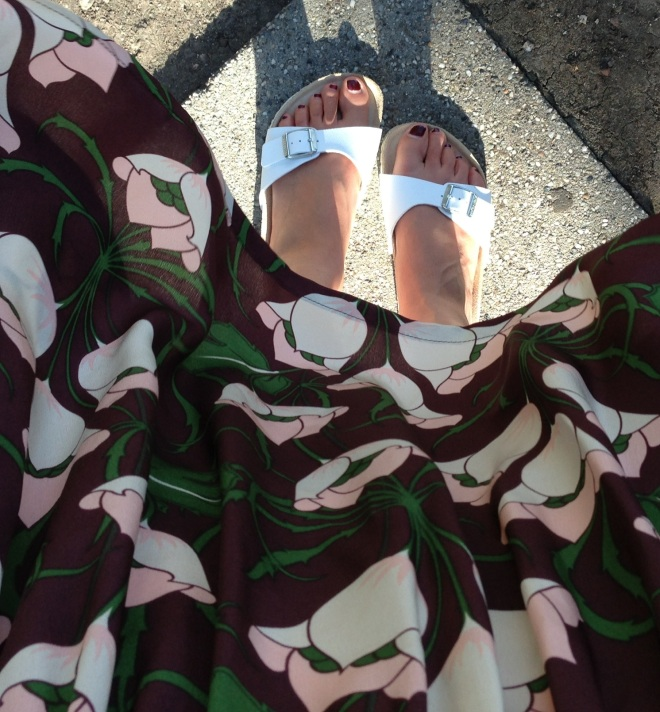 floral print and white birkenstocks