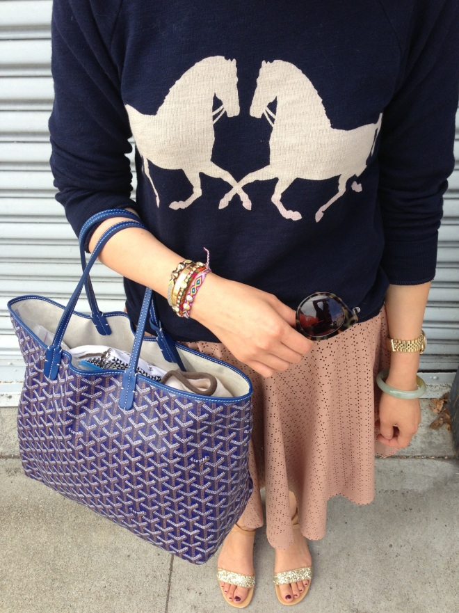 j crew horsing around sweatshirt, astral swing skirt and goyard tote bag