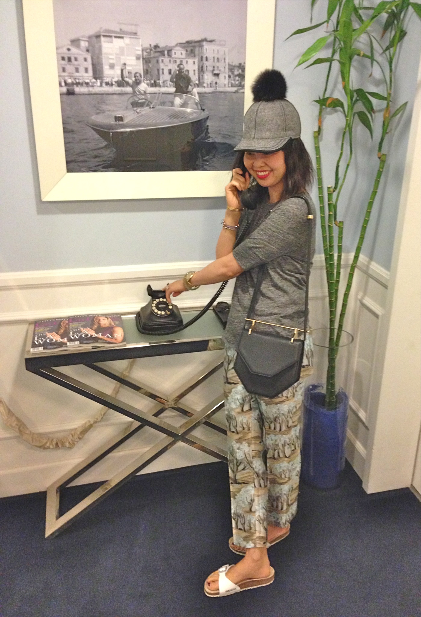 3923142edaa lola hats thumper pom cap. distracted. hallway at mr c s hotel. marni print  pants and m2malletier amor fati bag