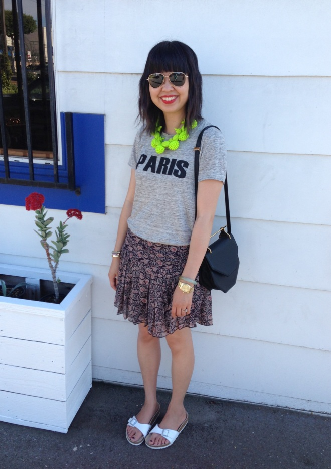 paris tee by madewell, ek thongprasert necklace and toile by isabel marant skirt with white birkenstocks