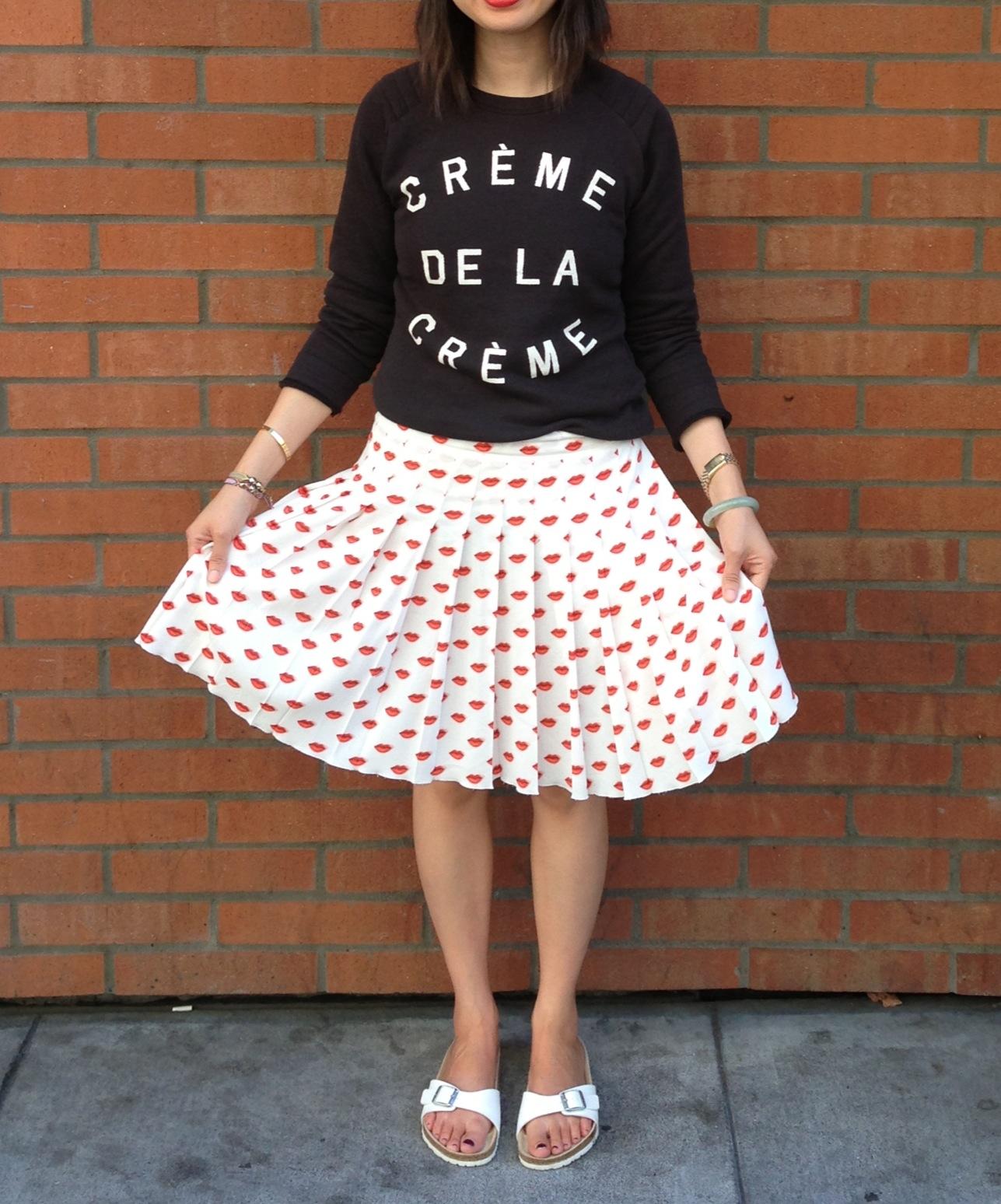 356e61fdc04 zoe karssen creme de la creme sweatshirt and prada lips print pleated skirt  with white birkenstocks
