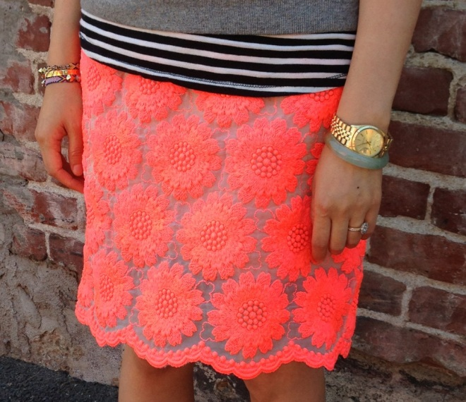 simone rocha neon pink big daisy skirt