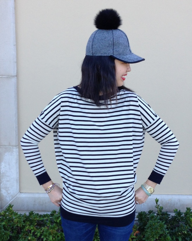 lola hats fur pom hat and demy lee striped top