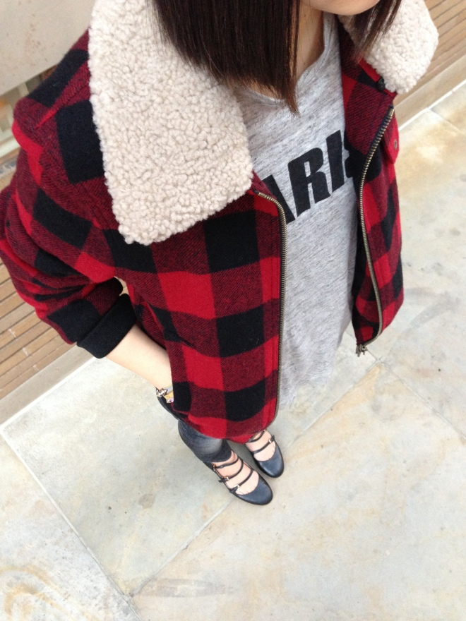 ami shearling trimmed plaid bomber jacket and madewell paris tee