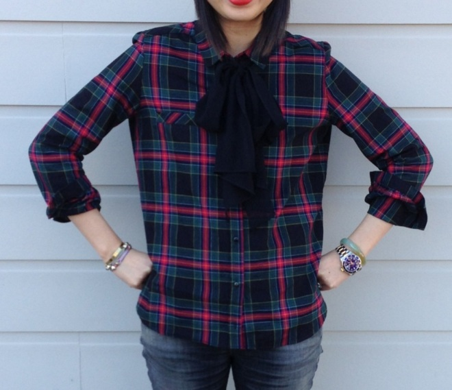 Zara TRF checked blouse with big bow