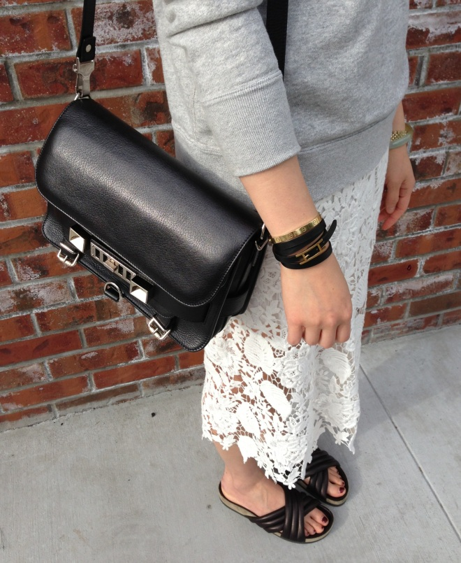 proenza schouler ps11 bag in black with lace skirt