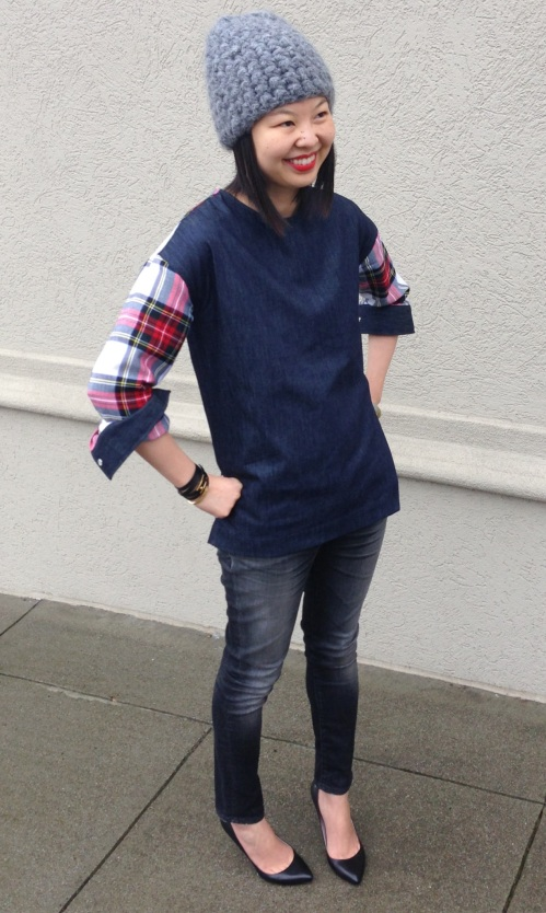 beanie and tartan denim top