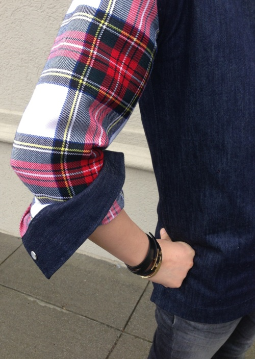 tartan plaid sleeve and hermes wrap bracelet
