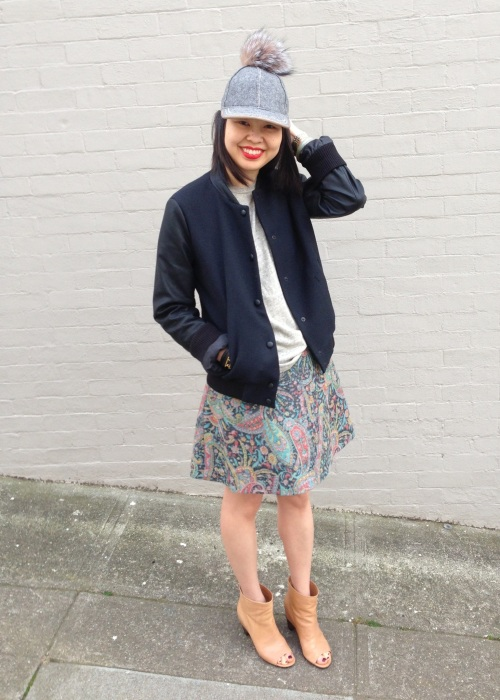 pom cap, zara trafaluc varsity bomber jacket, carven paisley print skirt and MM6 open toe booties