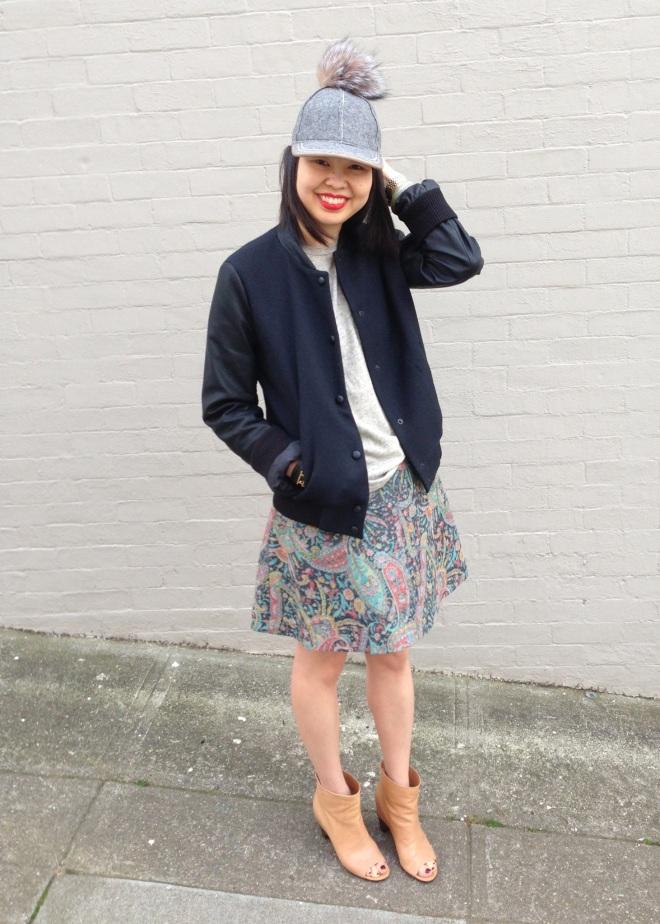 pom cap, zara trafaluc varsity bomber jacket, carven paisley print skirt and MM6 open toe booties