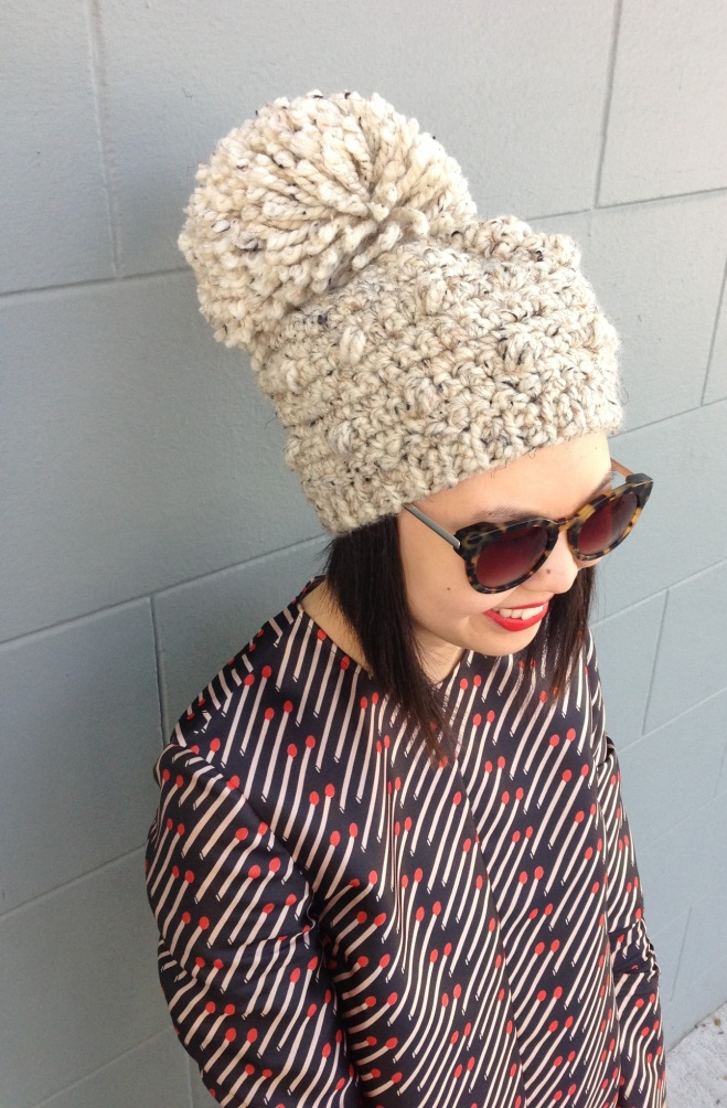 stepcat bobble pom beanie in oatmeal