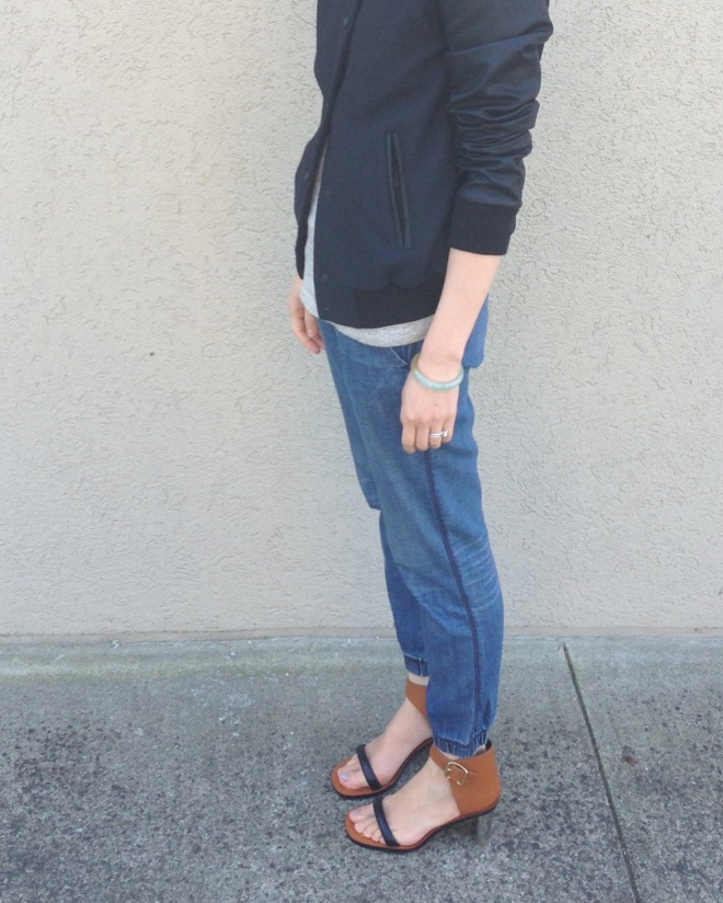gryphon denim sweatpants and celine bam bam sandals