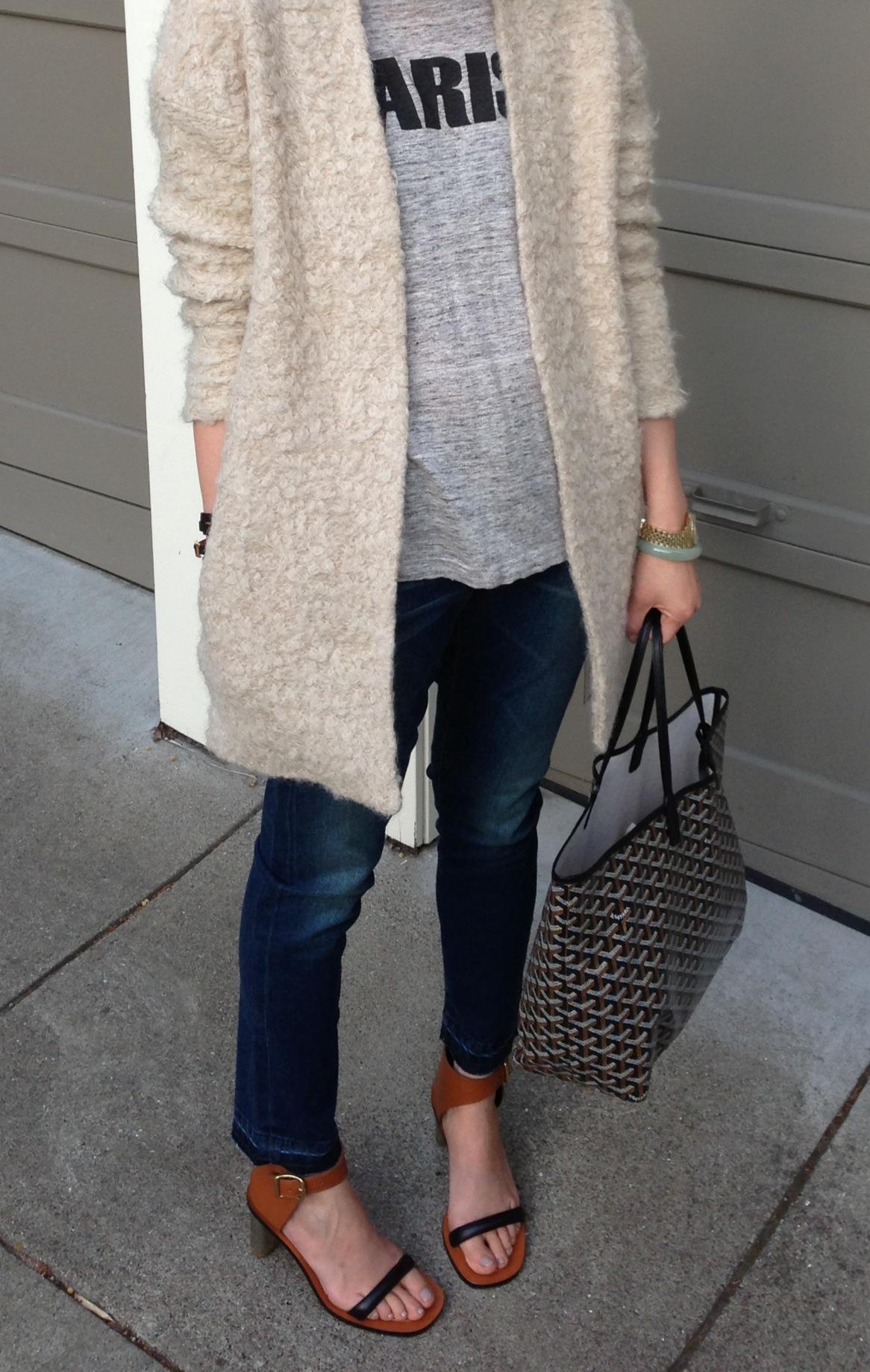81517d77 Fuzzy jacket by H&M Trend Goyard bag and Celine shoes neutrals