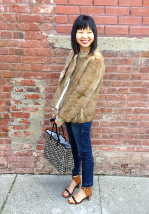 APC rabbit fur jacket with Celine bam bam sandals