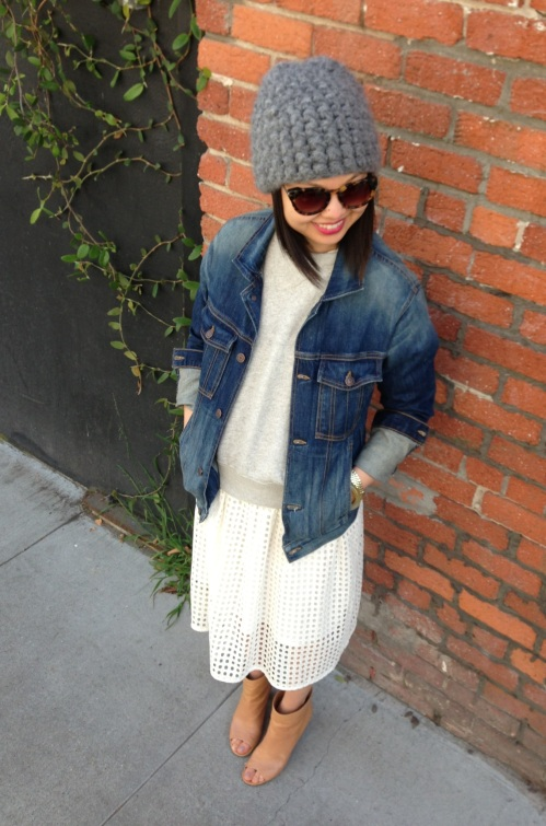 eyelet skirt with denim jacket and open toe booties