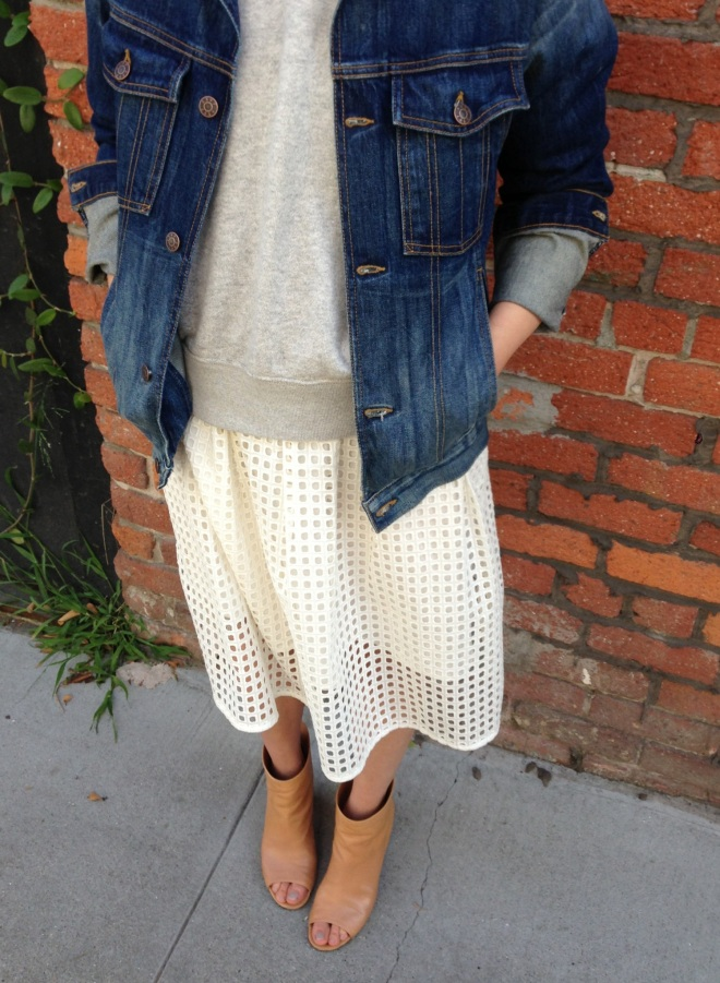 madewell eyelet hideaway dress worn as a skirt