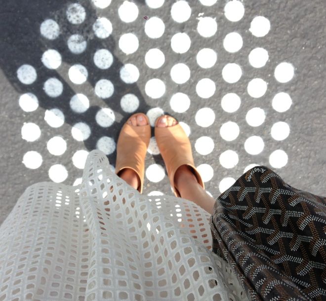white eyelet and spots