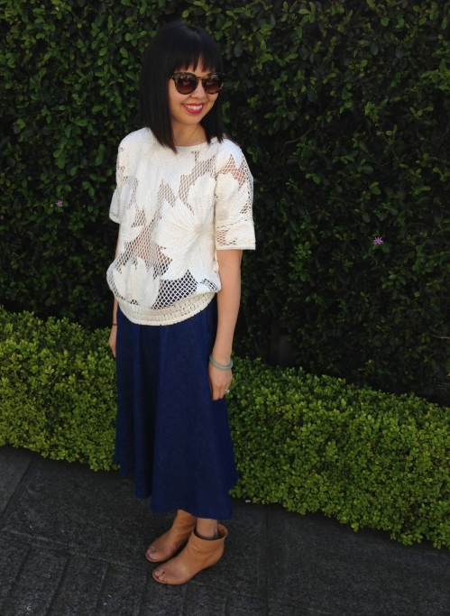 etoile by isabel marant embroidered top and zara skirt