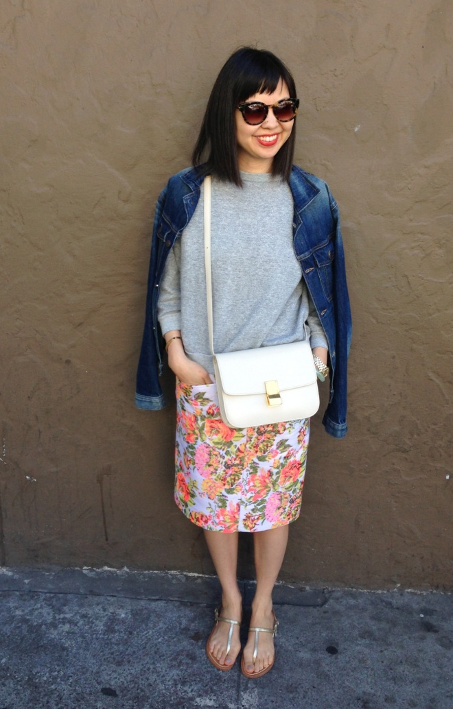 stella mccartney floral skirt with celine ivory box bag
