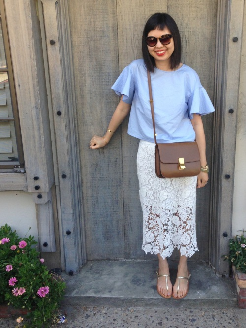 h&m trend blue fluted sleeve top with pixie market lace skirt and celine box bag