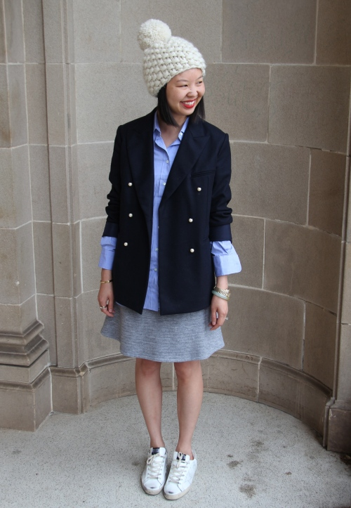 celine blazer with pearl buttons, l'agence skirt, golden goose superstar sneakers, and nessa vendetta pom beanie