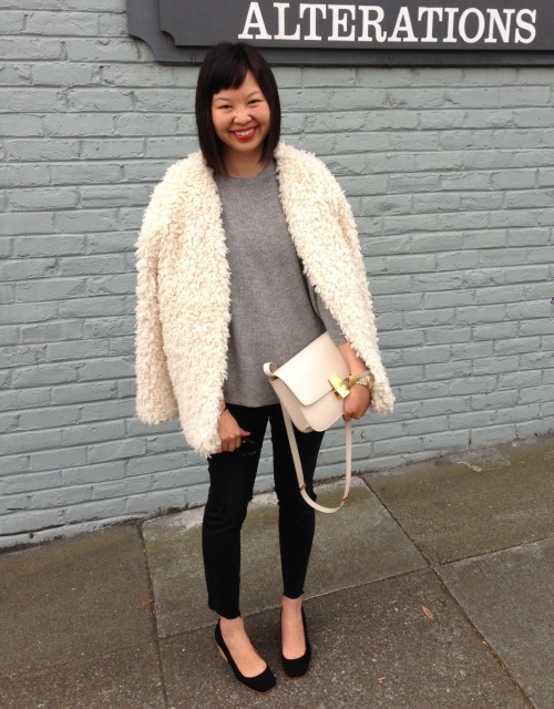 h&m trend shaggy jacket with ivory celine box bag