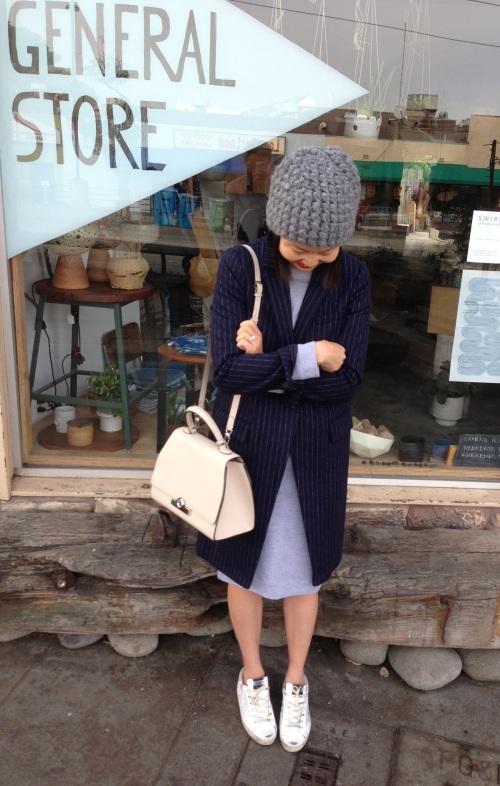 9d90e0fb Dress: Heidi Merrick. Sneakers: Golden Goose (purchased in Paris, similar  here). Beanie: Tzipporah (old). Bag: Moynat (custom order and purchased in  ...