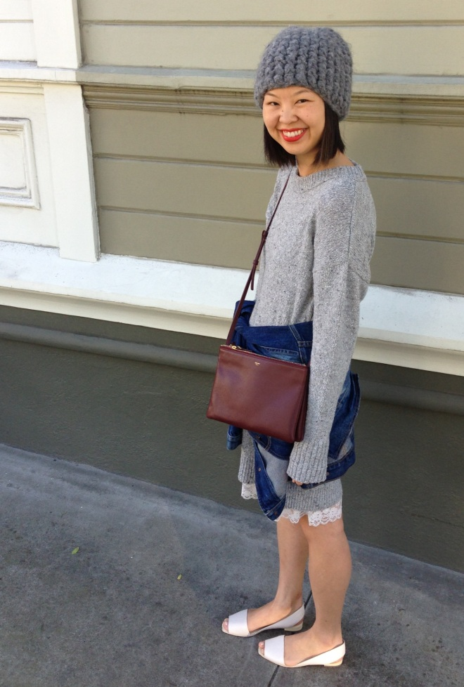 zara tweed dress with celine trio bag in burgundy