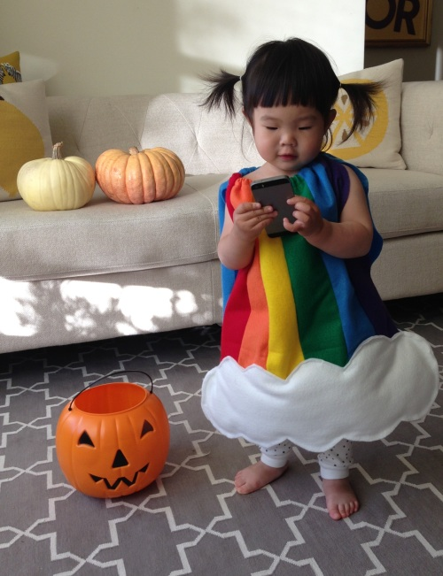 rainbow costume from the front