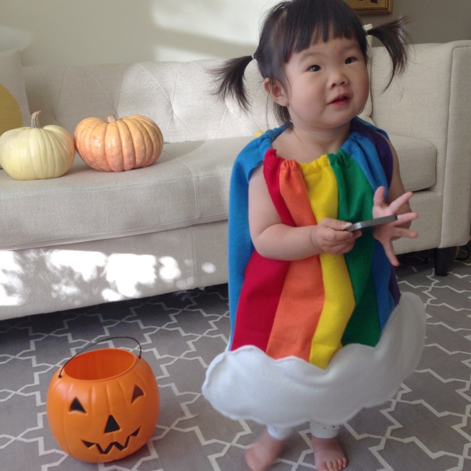 marni in her rainbow and cloud costume