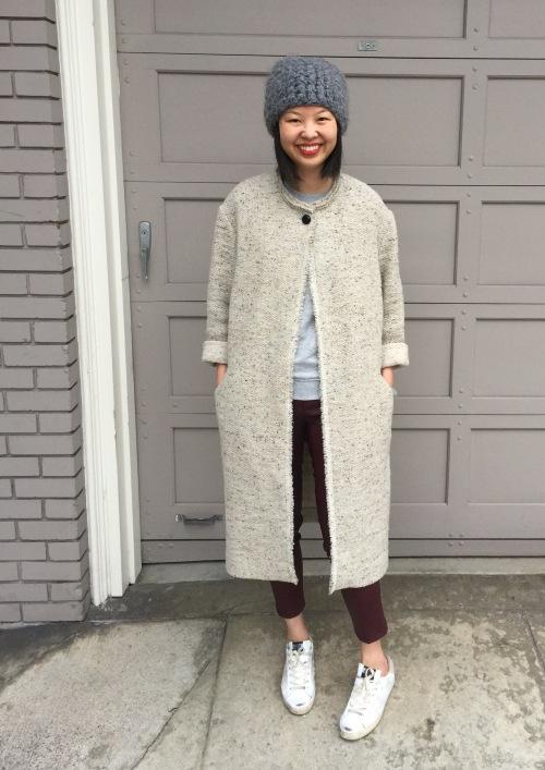 isabel marant easton tweed coat in beige and helmut lang merlot leather skinny pants