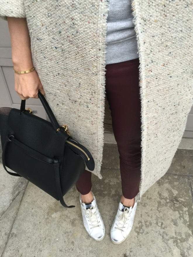 tweed and leather and celine belt bag
