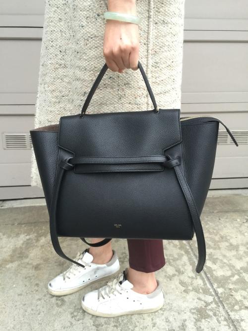 celine belt bag in black leather
