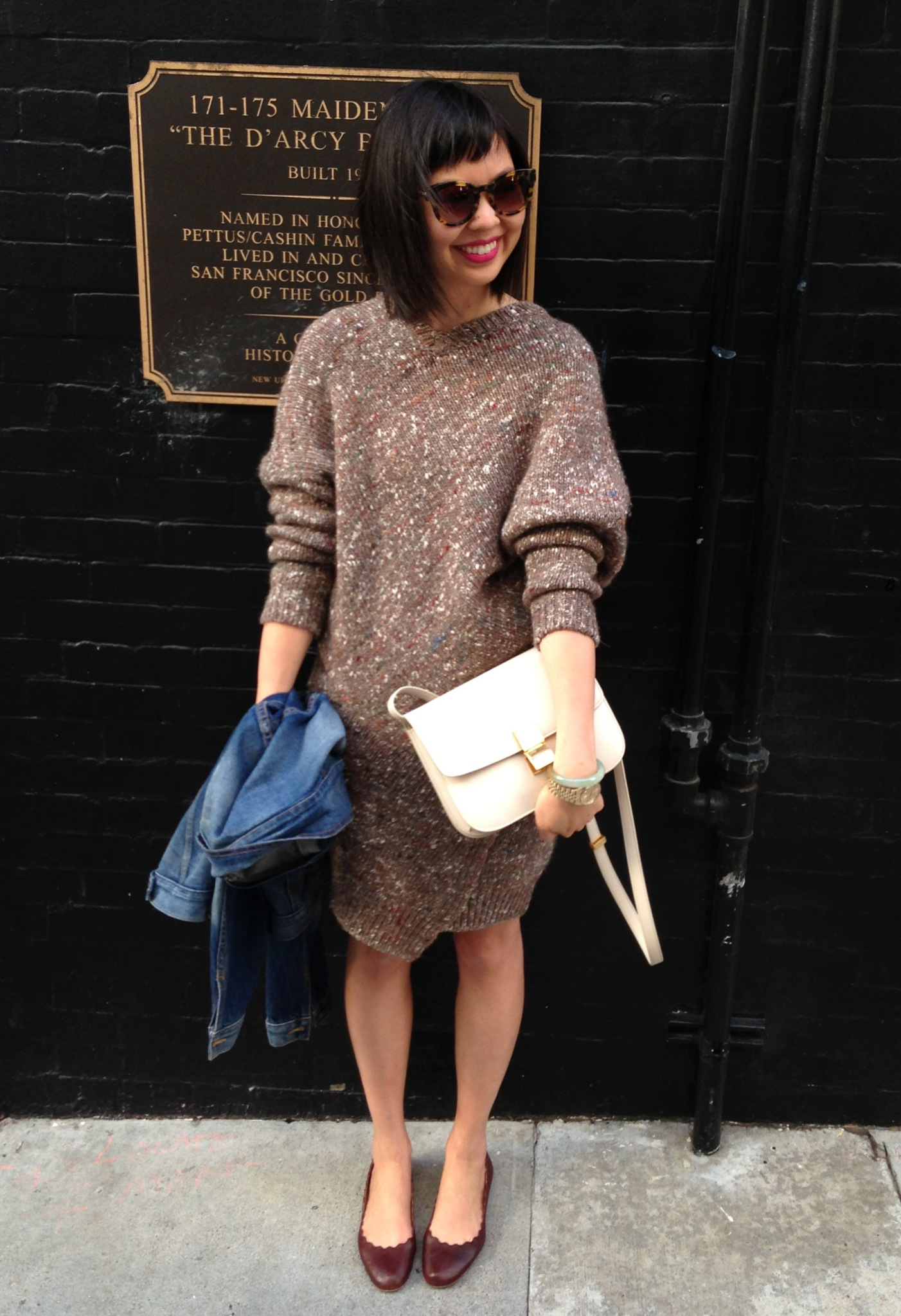 ... celine ivory box bag stella mccartney chunky knit sweater dress with  chloe scallop ballet flats e98d762b1b2e5