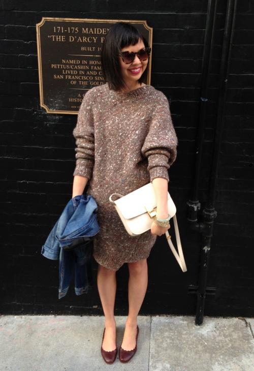 stella mccartney chunky knit sweater dress with chloe scallop ballet flats
