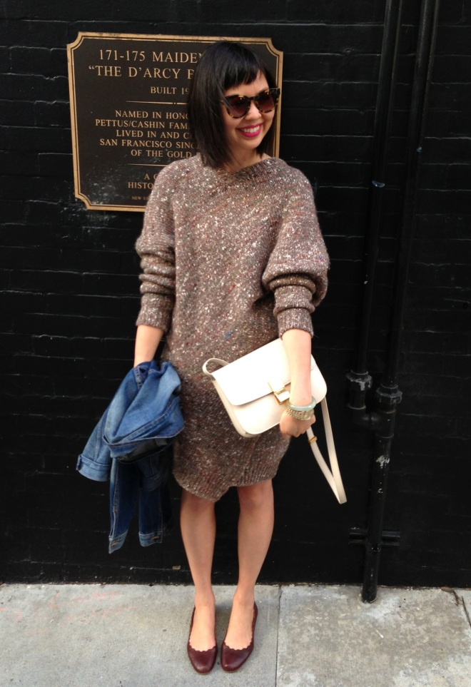stella mccartney chunky knit sweater dress with chloe scallop ballet flats