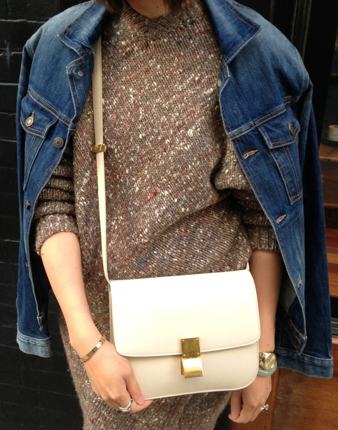 denim, chunky knit and celine ivory box bag