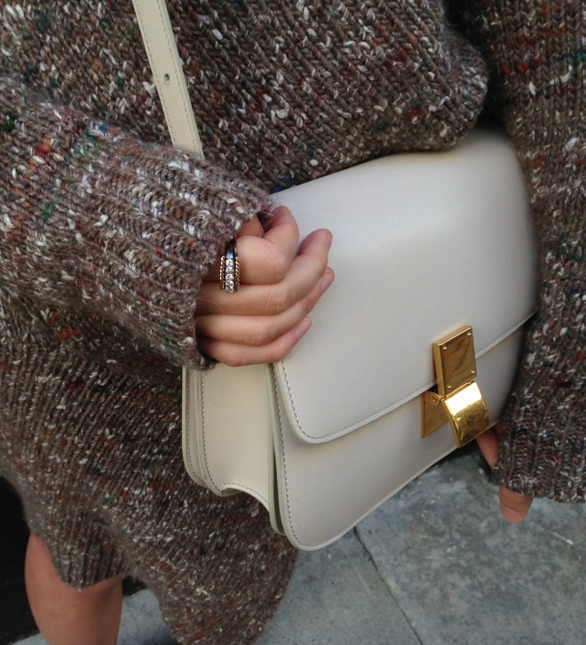 ivory celine box bag and stella mccartney chunky knit details