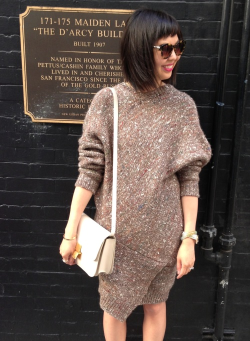 celine box bag with stella mccartney chunky knit sweater dress